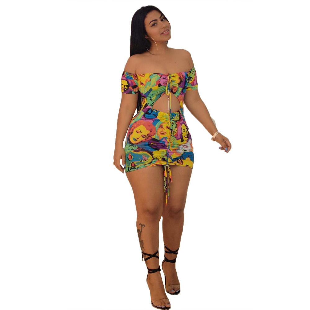 Amazon hot sale Sexy hollow off the shoulder women club dress mini dress with low price