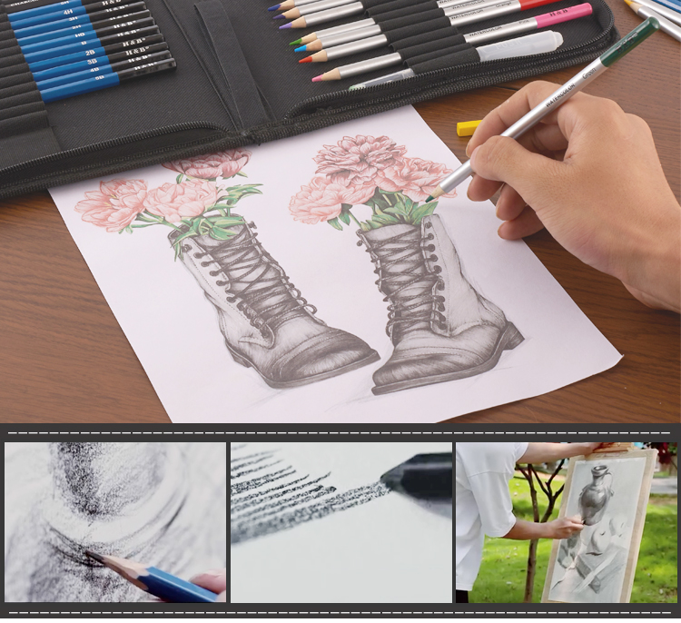 Artist sketching and pencil drawing art set