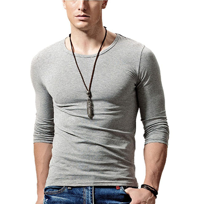 Hot koop mannen Casual Basic Mode T-shirt Sport Shirt O Neck Tee Lange Mouw Tee