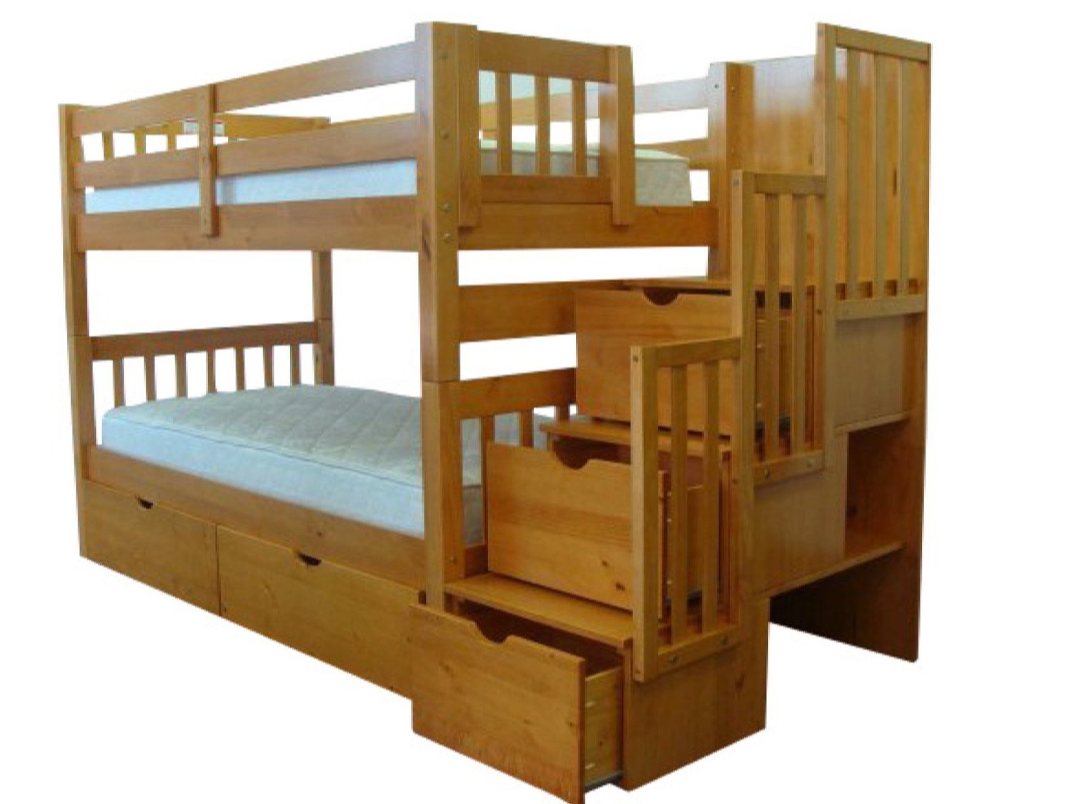 Picture of: Buy Bedz King Stairway Bunk Beds Twin Over Twin With 3 Drawers In The Steps And 2 Under Bed Drawers Honey In Cheap Price On M Alibaba Com