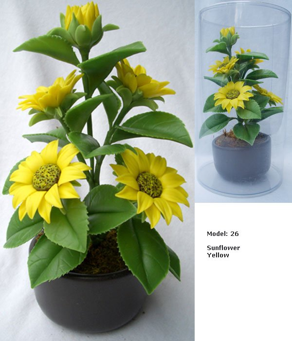 Artificial Clay Flowers Small 7 Inch-sunflower