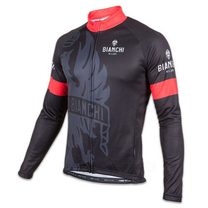 Get Quotations · High quality BIANCHI Milano LEGGENDA SORISOLE pro men s  thin black red green long sleeve jersey cycling 8b917792d