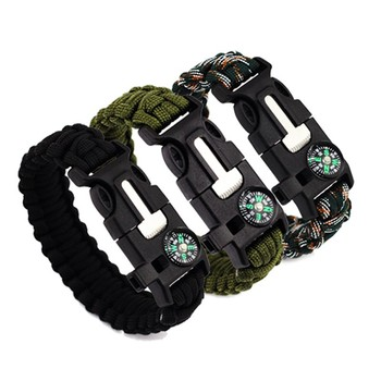 Emergency Survival Paracord Bracelet Kit With Comp Eye Knife Fire Starter For Camping Hiking