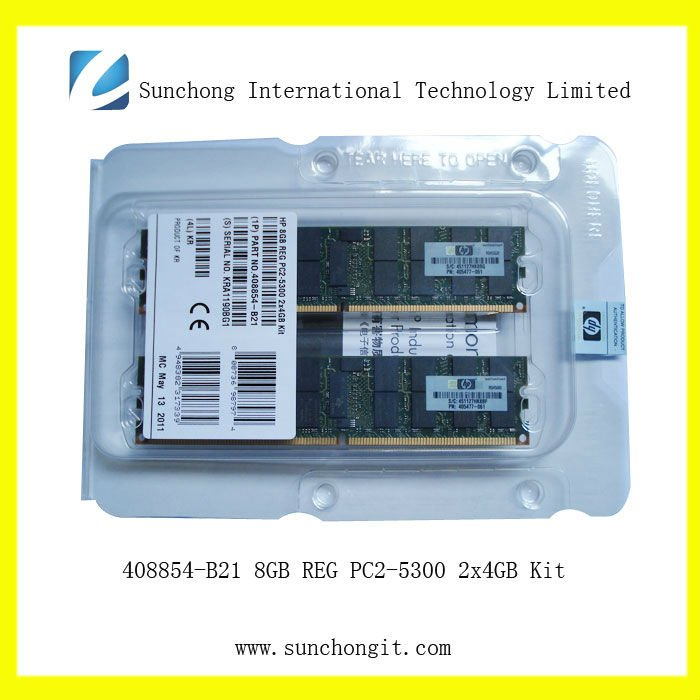 Cheap price 408854-B21 for hp 8GB PC2-5300 DDR2 (2*4G) dual rank server memory AE