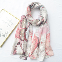 2019 new butterfly print hot silver craft cotton scarf fashion wild bling sunscreen shawl beach towel