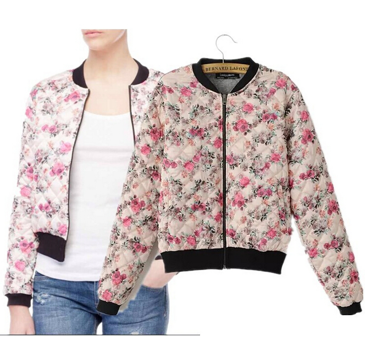 New Winter 2015 Women European Leg Quilted Floral Print Quilted Casual Coat Jacket Long Sleeve Women Slim Jackets Hot Sale GD51
