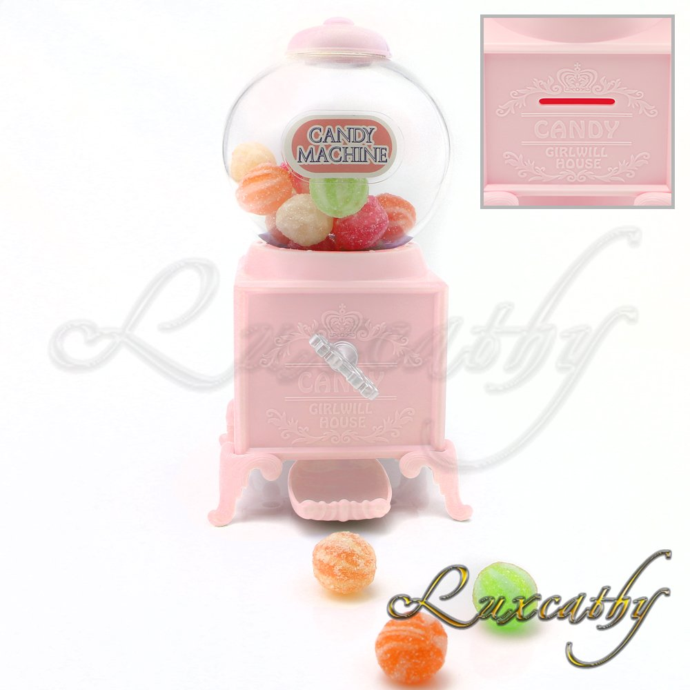 "Luxcathy Gumball Bank Candy Dispenser Vending Machine for Party, Candy/Chocolate/Jelly Bean Storage, Gift - 7.2"" Height 3"" Wide (Pink)"