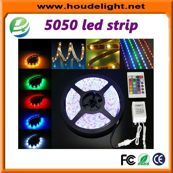 Price in india 5m smd 5050 3528 rgb 300 waterproof led strip + ir remote