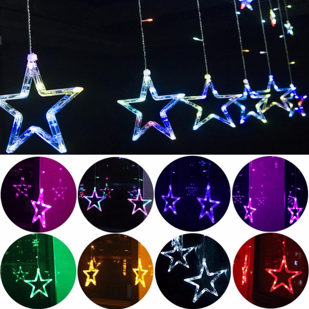 muti-color Star Fairy String Lights 2M 138 LED Lamps Christmas Wedding Deco EU Plug 220V