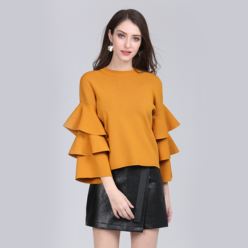 FLare sleeve knitwear sweater new spring clothes pullover fashion for women