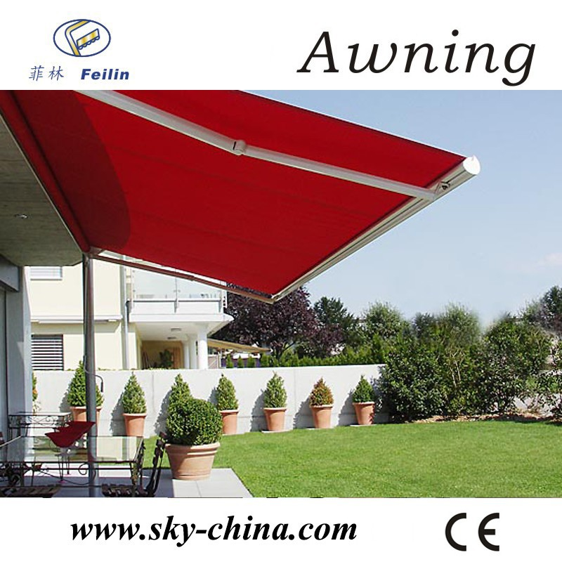 Easy operate poly manual retractable awning price