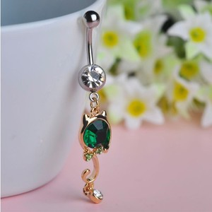 Wholesale Cute Crystal Cat Kitty Dangle Navel Belly Button Ring Party Bijoux Body Piercing Jewelry