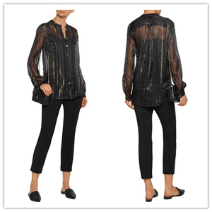 Long Sleeve V Neck Black Metallic Stipe Voile Silk Blouse Womens