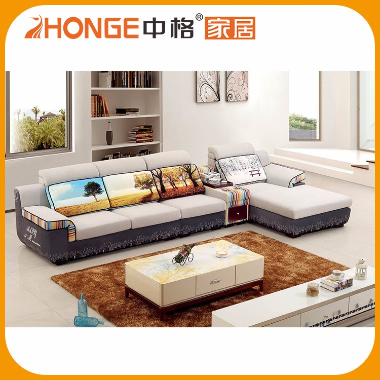 Cheap Price Livingroom Funiture L Shape Linen Fancy Fabric Sofa