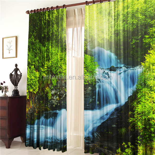 3DP CUR010 Green Forest Brook 3d Fabric 3D Printing Curtains