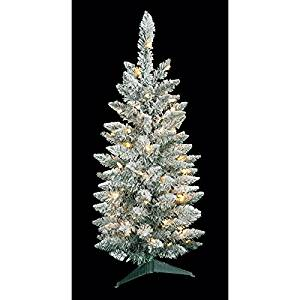 "34""Hx17""W Flocked Pine LED-Lighted Artificial Christmas Tree w/Stand -White/Green (pack of 2)"