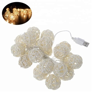 3M/20LEDs USB Rattan Balls LED Fairy String Light Decorative Lights for Home Wedding Patio Party
