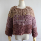Genuine rabbit fur bicolor knitted jacket for women