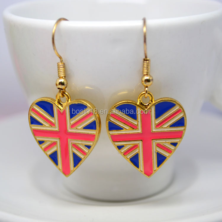 Factory direct sale high quality flag gold plated earrings engrave logo jewellry #21892