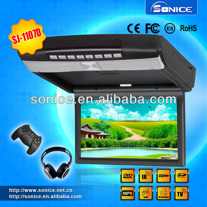 9 and 10.1 inch supper slim HD flip down DVD player+TV+GAME+USB/SD+IR/FM+MP3/MP4