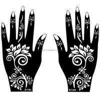 17 Styles Fake Black Body Art Waterproof Temporary Indian Hand Tattoo Templates Stencil 21*12cm For Hand Painting