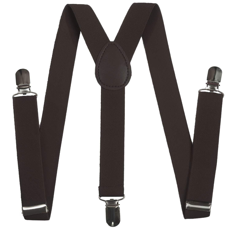 Kay's BTQ Boy Kids Child Girls Toddler Adjustable Adjustable Elastic Solid Suspenders (Coffee)