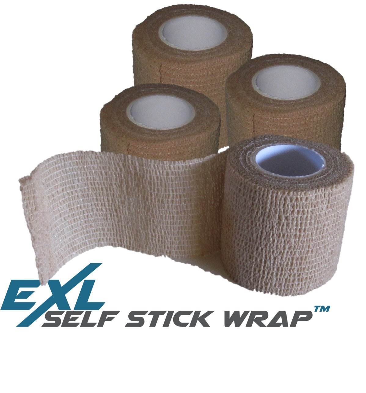 ExL Performance Self-Stick Wrap - 4-Pack - Flexible Non-Stick, Self-Adherent, Pressure Wrap Gauze Bandage - Latex-Free - Large Roll (15 feet long and 2 inches wide) (Beige/Tan)