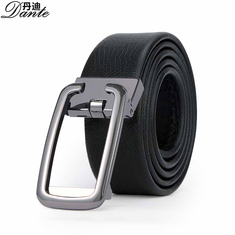 Dante Leather Holeless Belts for Men with Automatic Buckle Ratchet Slide Black