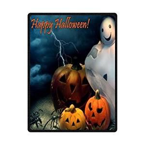 SOFTKIITY Custom Fashionable Halloween Pumpkin With Cute Halloween Ghost Comfort Blankets Throws Size 58inch x 80inch (Large)