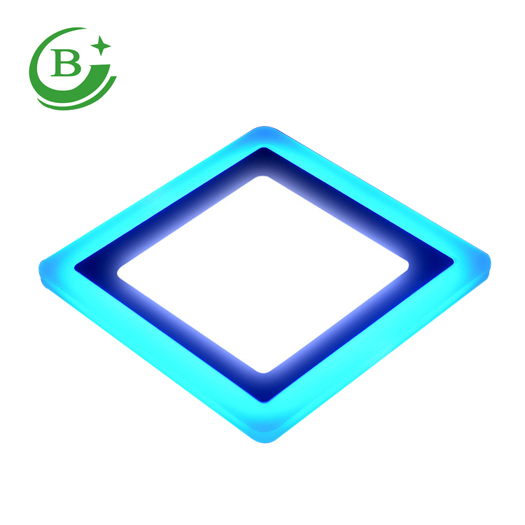 Double color concealed mounting non-isolated segments Square LED Panel Light 3W + 3W