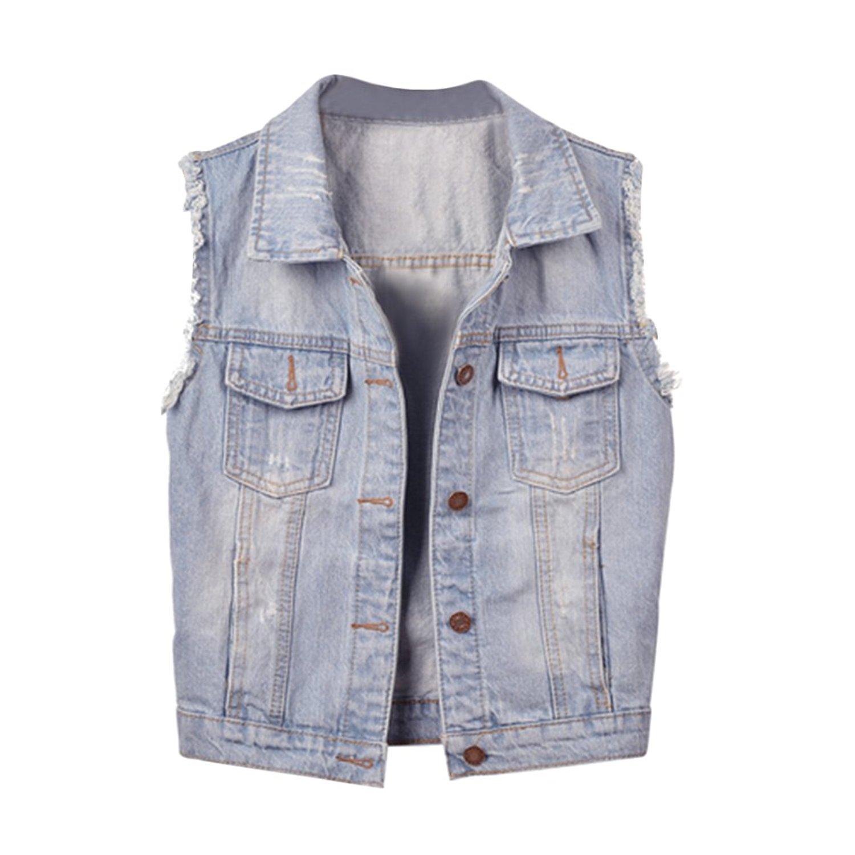 7b5994c382f6f Get Quotations · CHICFOR Big Girls  Denim Vest Casual Coat Sleeveless Jean  Jacket
