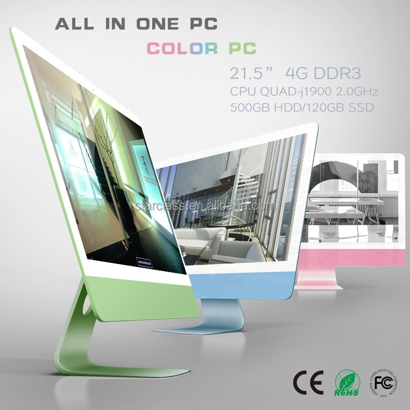 Color PC 21.5 inch all in one desktop computer with 1080p led intel quad-core j1900 500g HDD 4gb RAM