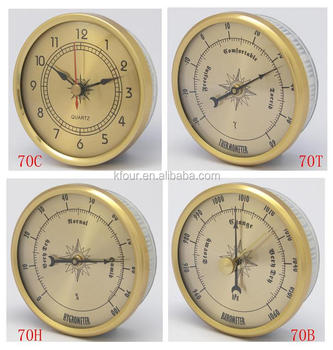 Metal Weather Station Accessories Movement With Barometer Thermometer Hygrometer And Clock Insert Chinese Supplier