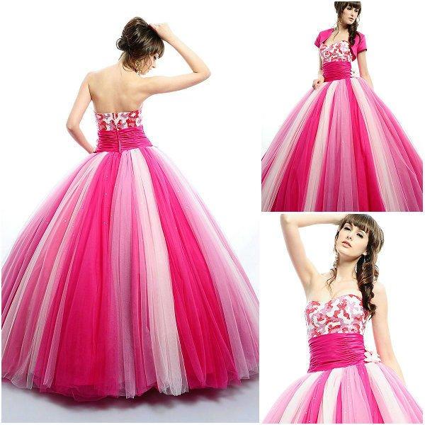 6a2adb4af q0031 vestido de bola de tres colores vestido de quinceañera-Vestido ...