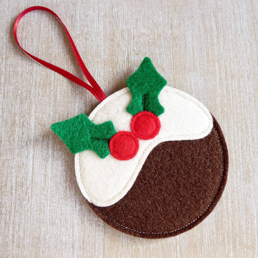 Handmade Felt Pudding Christmas Decoration