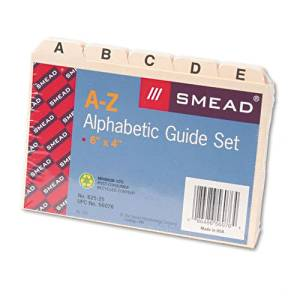 Smead : Self-Tab Card Guides, Alpha, 1/5 Tab, Manila, 4 x 6, 25 per Set -:- Sold as 2 Packs of - 25 - / - Total of 50 Each