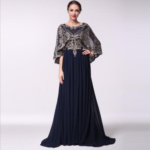 Frauen Mantel Abendkleid Formale Qualität Chiffon Golden Gestickte ...