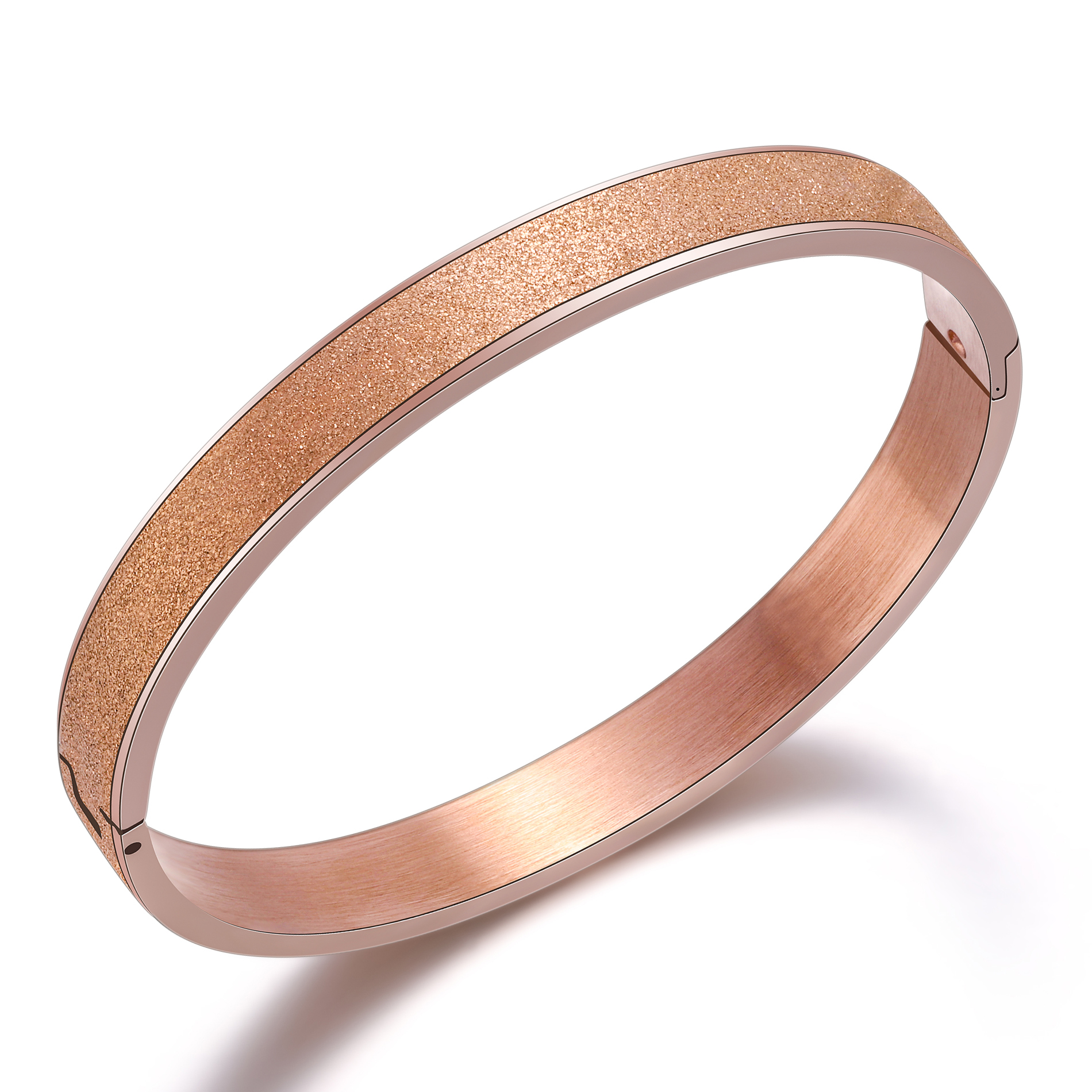 New Jewelry Rose Gold/Golden Plated Frosting Bangle Women Korean Fashion Bracelets Stainless Steel Wristband Lovers Jewelry