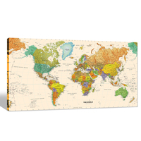High Resolution Print World Map/Large Size Canvas Art for Office Decor/Wholesale Canvas Print Manufacturer