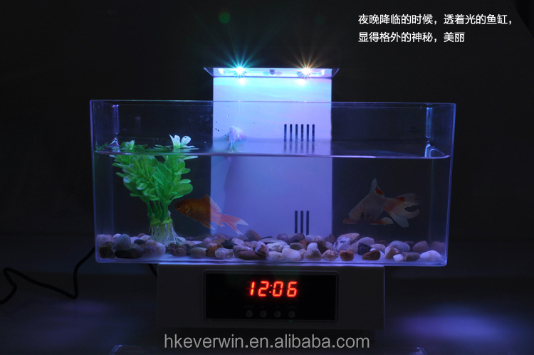 Fashionable Usb Mini Desktop Aquarium With Lcd Light And Time ...