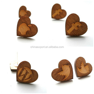 Wholesale alibaba animal letter wood studs earrings