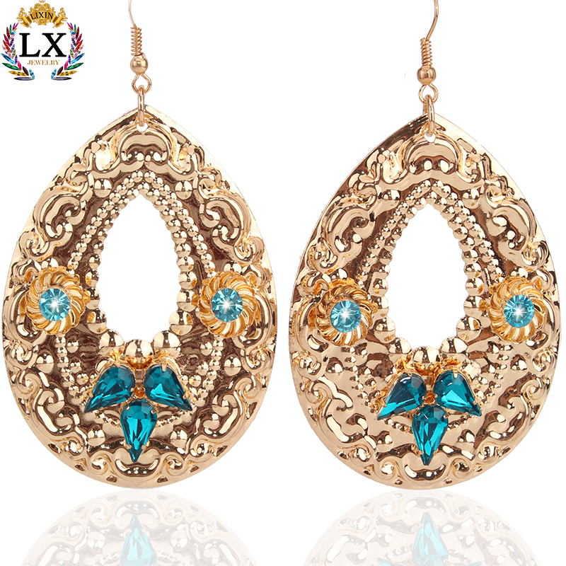 ELX-00067 fancy design saudi gold jewelry earrings 18k gold with crystal wholesale hanging drop hoop earrings for girls