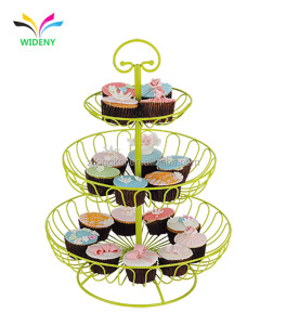 3-Tier Decorative Metal Wire Fruit Cake Basket For Food