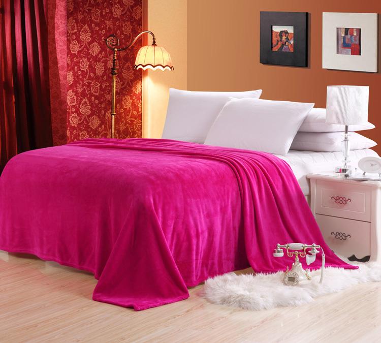 Solid Color Coral Flanno Blanket Bed Sheet Bedline Grey