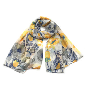 2019 Spring New arrival women lady scarf digital printed floral scarf 100% voile scarf