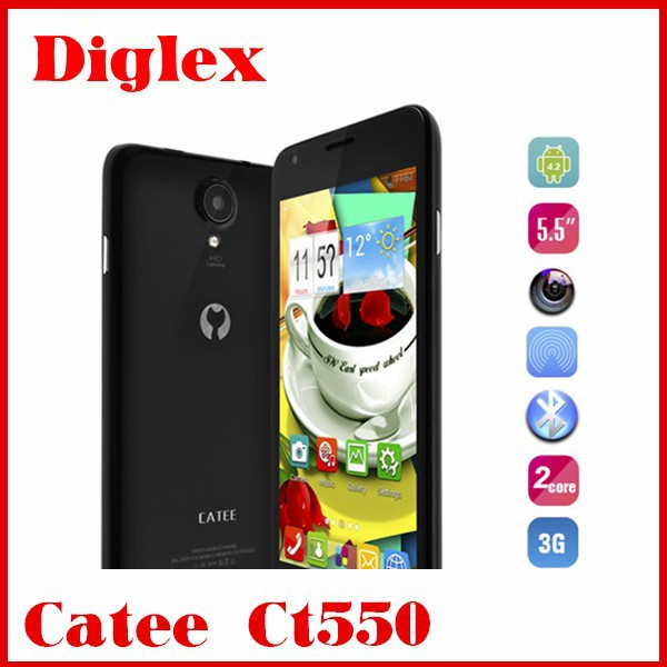 Cheap Original China Catee CT 550 Smart Phone MTK6572 Dual Core Android 4.2 5MP Cell Pone