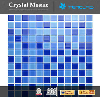 4mm cheap price blue glass mosaic swimming pool tile