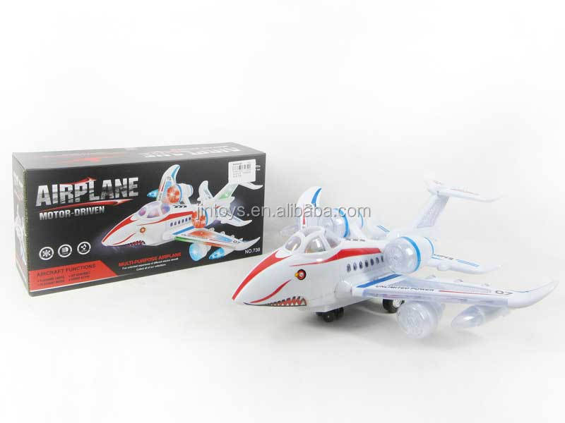 Hot sale battery operated plastic airplane toy, flashing toys for kids, AB006187