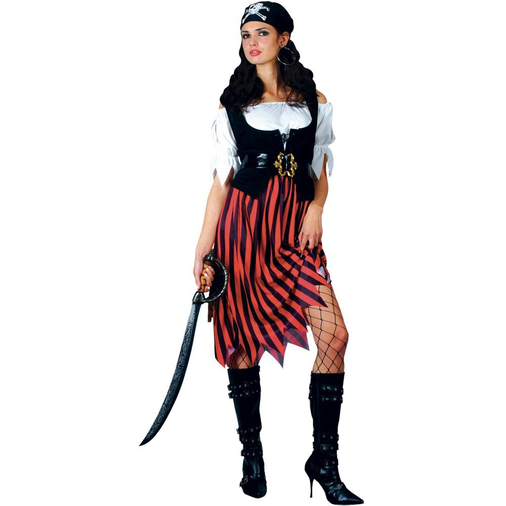 PIRATE BUCCANEAR GIRL WENCH ADULT WOMENS FANCY DRESS CARIBBEAN COSTUME