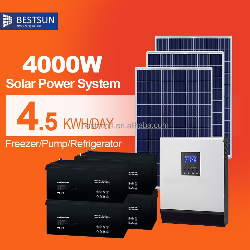 BESTSUN supplies electricity for air conditioning TV refrigerator BPS-4000m solar home lighting system for sale